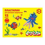 ПЛАСТИЛИН 12ЦВ.КАЛЯКА-МАЛЯКА 180Г СО СТЕКОМ ПКМ12-П
