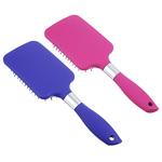 Расческа массажная плоская. пластик. силикон. 25.5см. розовый/фиолетовый. 36180-5
