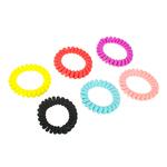 Набор резинок-спиралек. 6шт. 5.5см. пластик. полиэстер. 6 цветов. #19